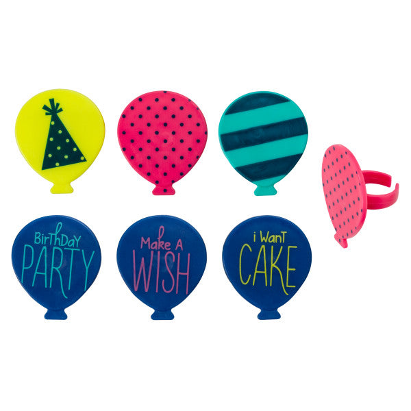 Bright Birthday Balloons Cupcake Rings