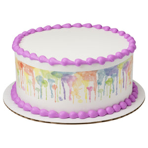 A Birthday Place - Cake Toppers - Bright Watercolor Edible Cake Topper Image Strips