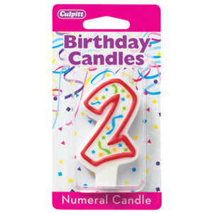 2 Party Red Numeral Candles