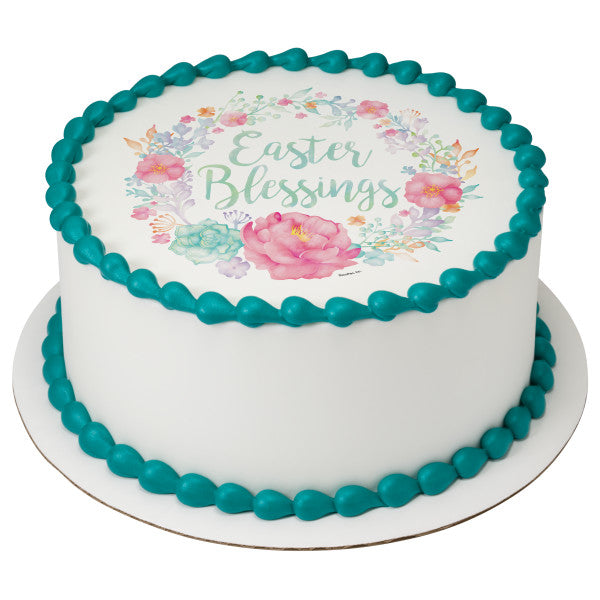 Floral Easter Blessing Edible Cake Topper Image