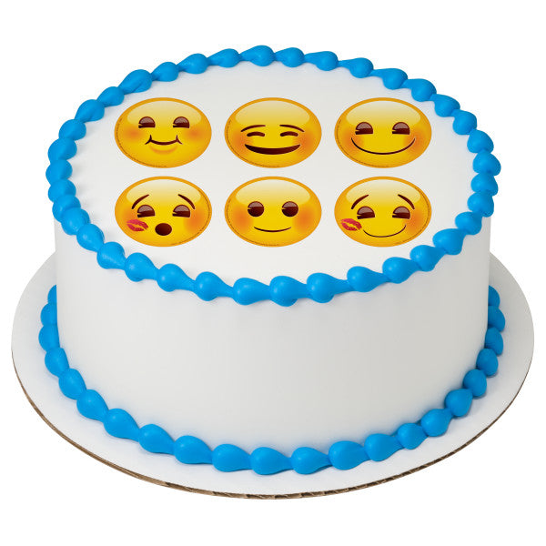 Emoji Full Of Smiles 3 Round Edible Cake Topper Image A Birthday Place