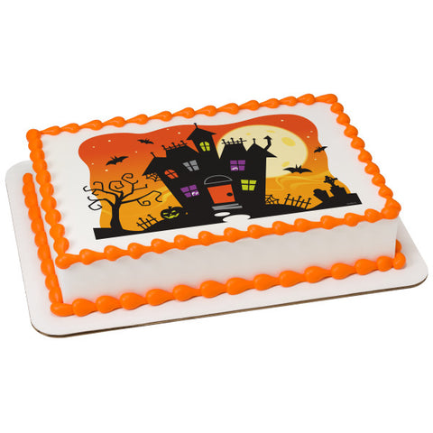 Spooky Haunted House Edible Cake Topper Image