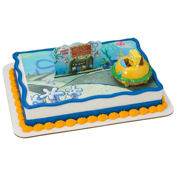 SpongeBob SquarePants™ Krabby Patty Edible Cake Topper Image DecoSet® Background