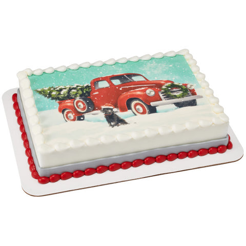 Classic Red Truck with Tree Edible Cake Topper Image