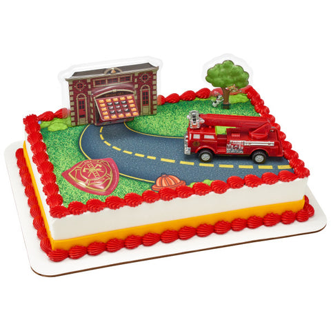 Fire Truck and Station Edible Cake Topper DecoSet® Background