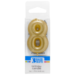 8 Mini Gold Numeral Candles