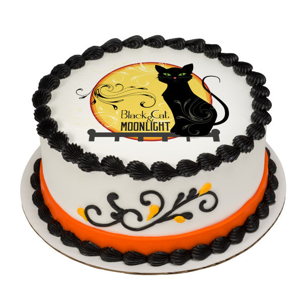 Black Cat Edible Cake Topper Image