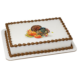 Autumn Turkey Edible Cake Topper Image