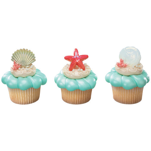 A Birthday Place - Cake Toppers - Sea Shell Cupcake Rings