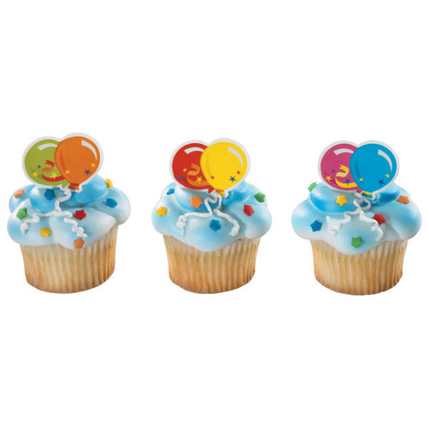 A Birthday Place - Cake Toppers - Balloons Cupcake Rings