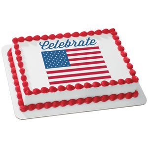 A Birthday Place - Cake Toppers - Celebrate America-Flag Edible Cake Topper Image