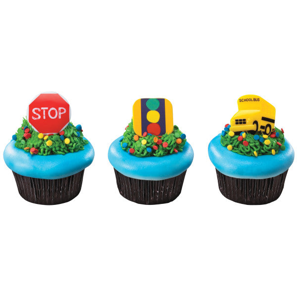 A Birthday Place - Cake Toppers - Stop, Look and Listen Cupcake Rings
