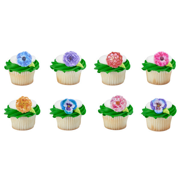 A Birthday Place - Cake Toppers - Garden Flowers Cupcake Rings