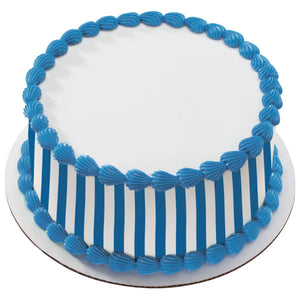 A Birthday Place - Cake Toppers - Nautical Blue Stripes Edible Cake Topper Image