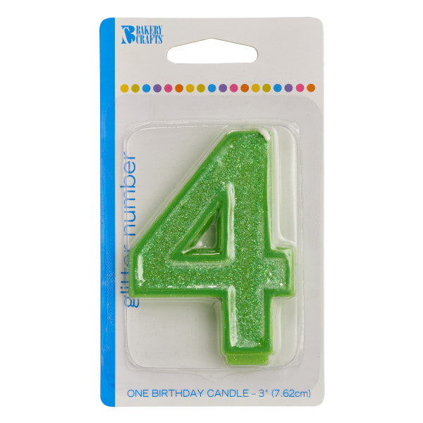 4 Glitter Numeral Candles