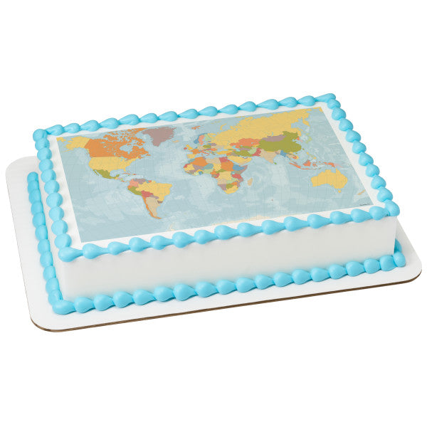 World Map Edible Cake Topper Image