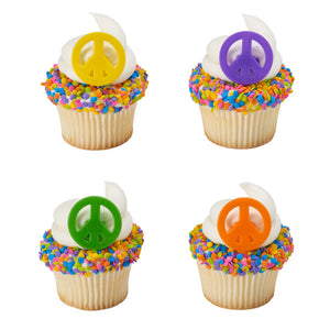 A Birthday Place - Cake Toppers - Peace Cupcake Rings