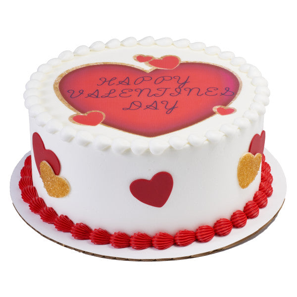 Red Hearts Edible Cake Topper Image