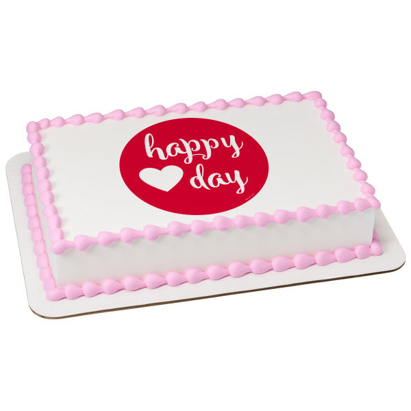Happy Heart Day Edible Cake Topper Image A Birthday Place