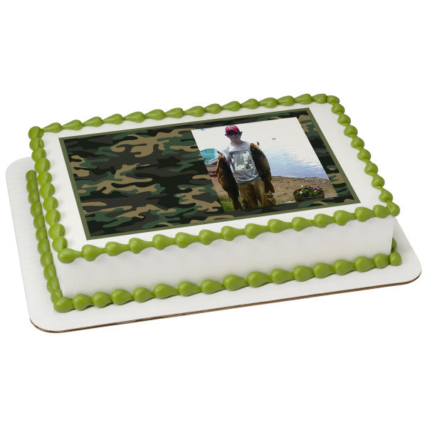 Camo Hunting Edible Cake Topper Image Frame