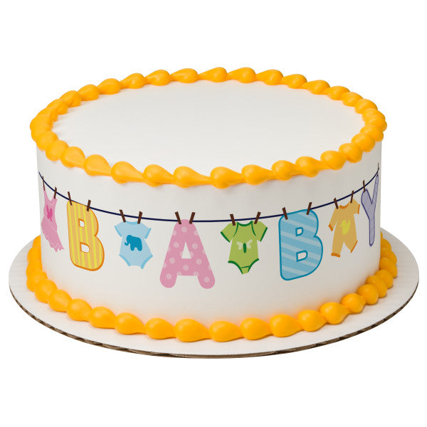 A Birthday Place - Cake Toppers - Baby Clothesline Edible Cake Topper Image Strips