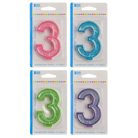 A Birthday Place - Cake Toppers - Bakery Crafts '3' Numeral Glitter Candles