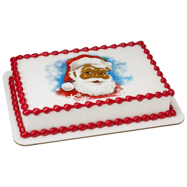 A Birthday Place - Cake Toppers - Classic Santa (African American) Edible Cake Topper Image