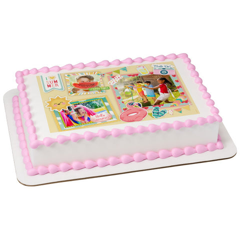 Summer Scrapbook Edible Cake Topper Image Frame