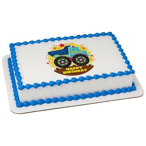 Happy Birthday Truck Edible Cake Topper Image