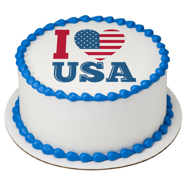 Celebrate America-I Love USA Edible Cake Topper Image