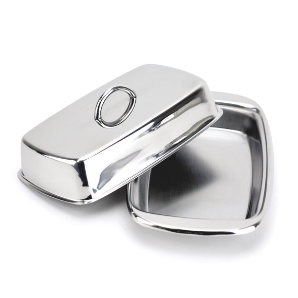 Butter Dish, Cute Stainless Steel Covered Butter Dish with Handle, Silver