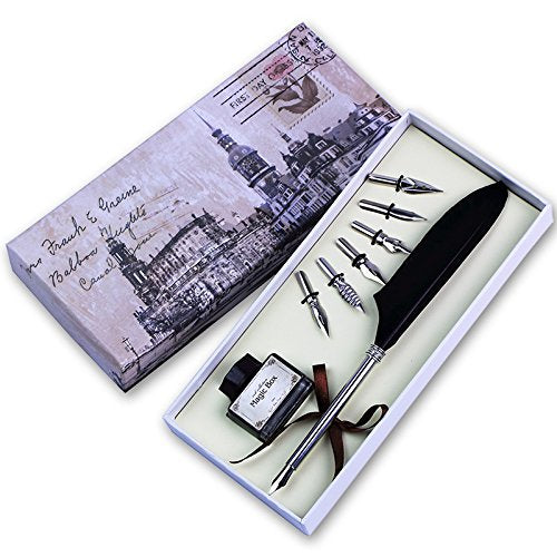Feather Pen, Writing Antique Luxury Quill Pen And Ink Set (silver)