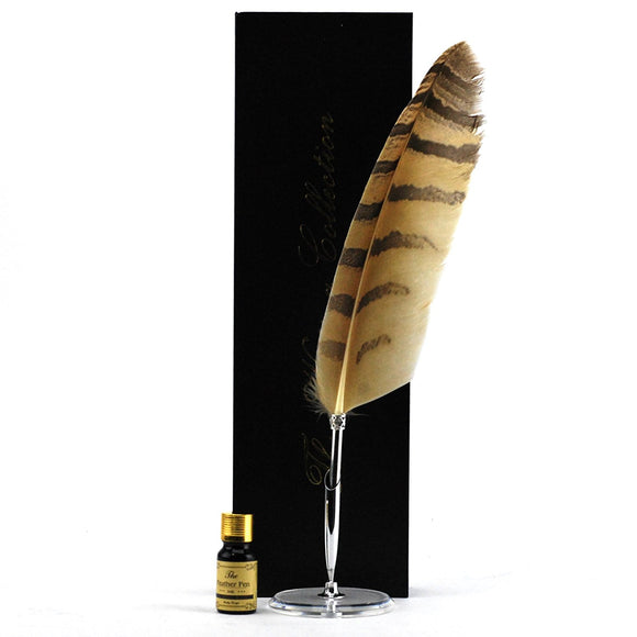 Quill Pen, Luxury Owl Feather Pen And Ink Set With Stand