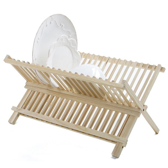 Dishes Rack, Kitchen Folding Compact Dish Rack Drainer Wood