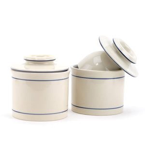 Butter Crock Blue, French Butter Boat Butter Keeper Dish Porcelain (pack Of 2)