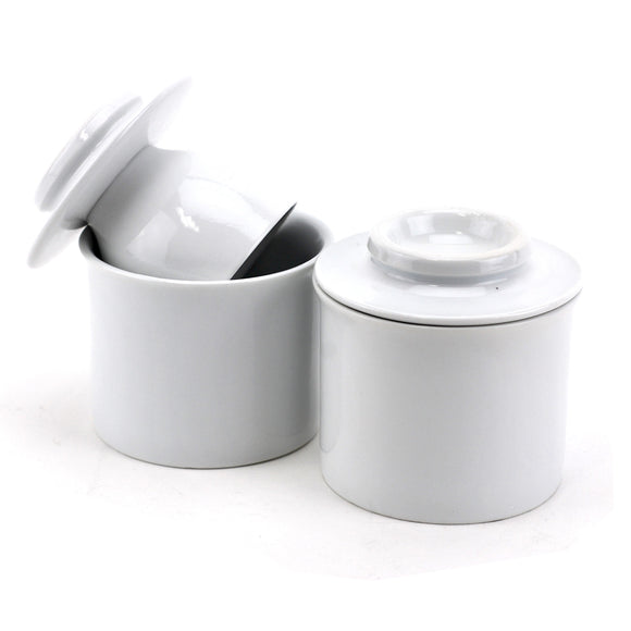 White Porcelain Butter Keeper, French Style Butter Crock With Water (pack Of 2)