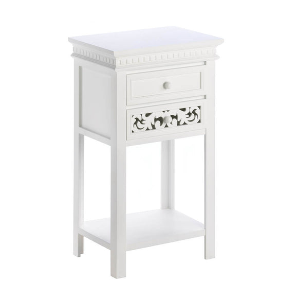 Modern Side Table, White Small Side Tables Bedroom, Mdf Wood