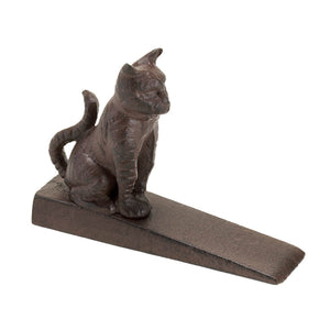 Cat Door Stoppers Decorative, Door Stopper Wedge - Cast Iron, Bronze Color
