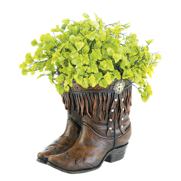 Outdoor Flower Planters, Decorative Polyresin Planters Resin Cowboy Boot Planter