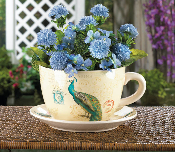 Large Garden Planters, Unique Decorative Planters, Patio Peacock Teacup Planter