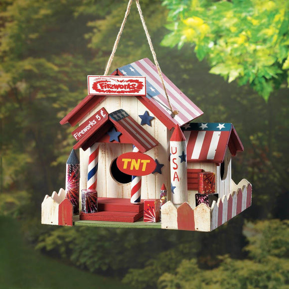 Wooden Birdhouses, Outdoor Birdhouse For Sparrow - Wood, American Flag
