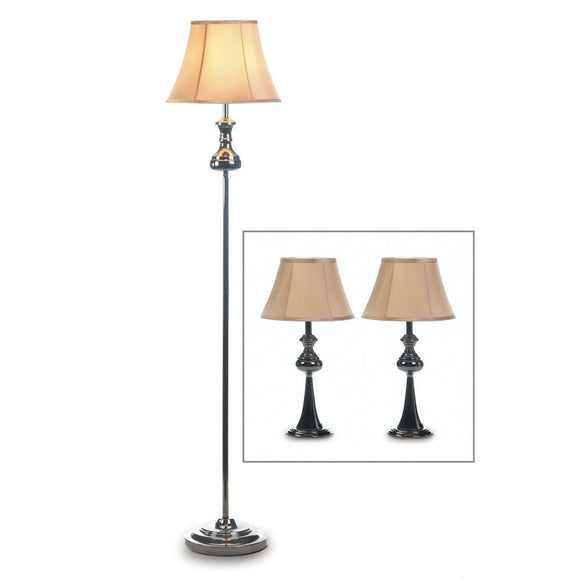 Long Floor Lamp, Black Metal Set Of Lamps For Living Room - 3 Lamp Set Trio