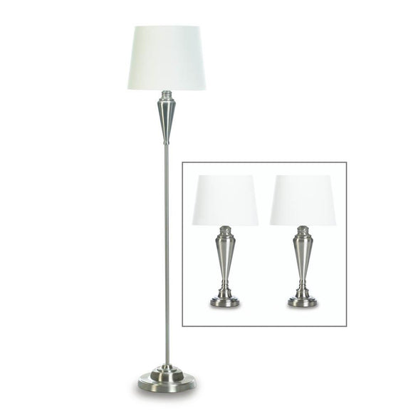 Desk Lamp Set, Silver Contemporary Living Room Table Lamp Set Modern - Metal