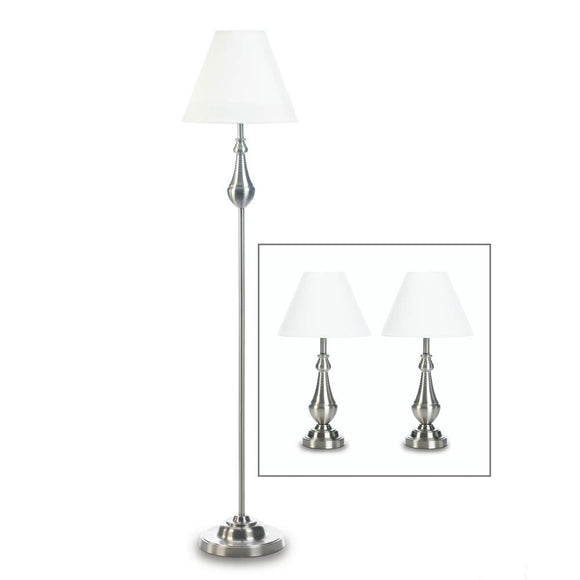 Living Room Floor Lamps, Metal Silver Modern Table Lamp Set - 3 Lamps Set