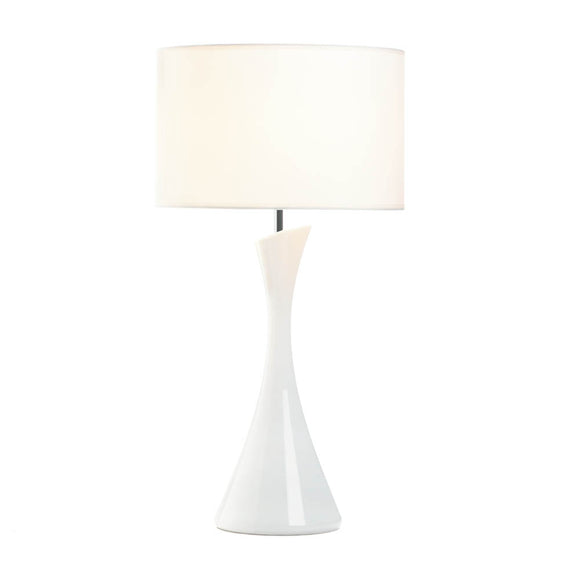 White Office Desk Lamp, Small Bedside Lamp Contemporary - Ceramic