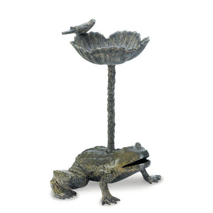 Decorative Bird Baths, Frog Aluminum Metal Bird Bath With Stand - Gray