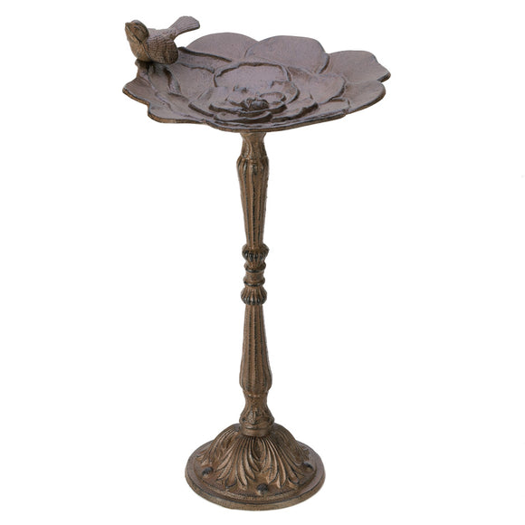 Bird Bath Pedestal, Metal Cast Iron Brown Outdoor Bird Bath Parakeet