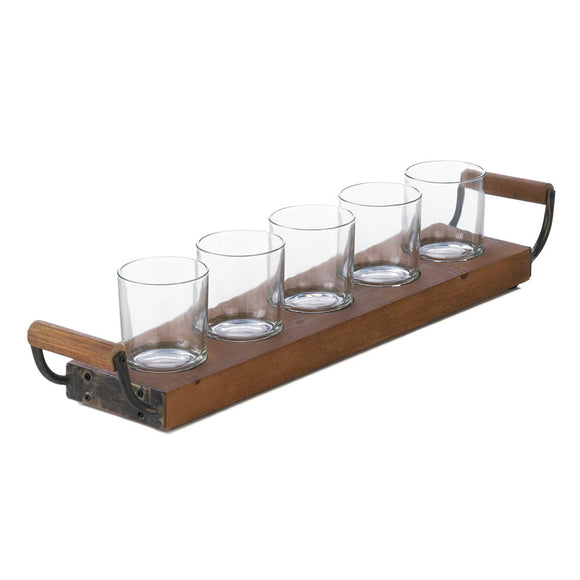 Glass Candle Holder Set, Antique Decorative Rustic Wooden Tray Candleholder