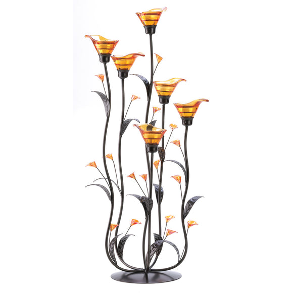 Glass Candle Holder, Amber Calla Lily Flower Candle Holder Decor Metal Stand