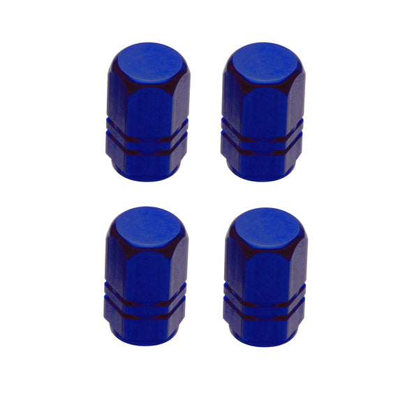 Tire Valve Stem Caps, Blue Aluminum Decorative Automotive Tire Valve Caps